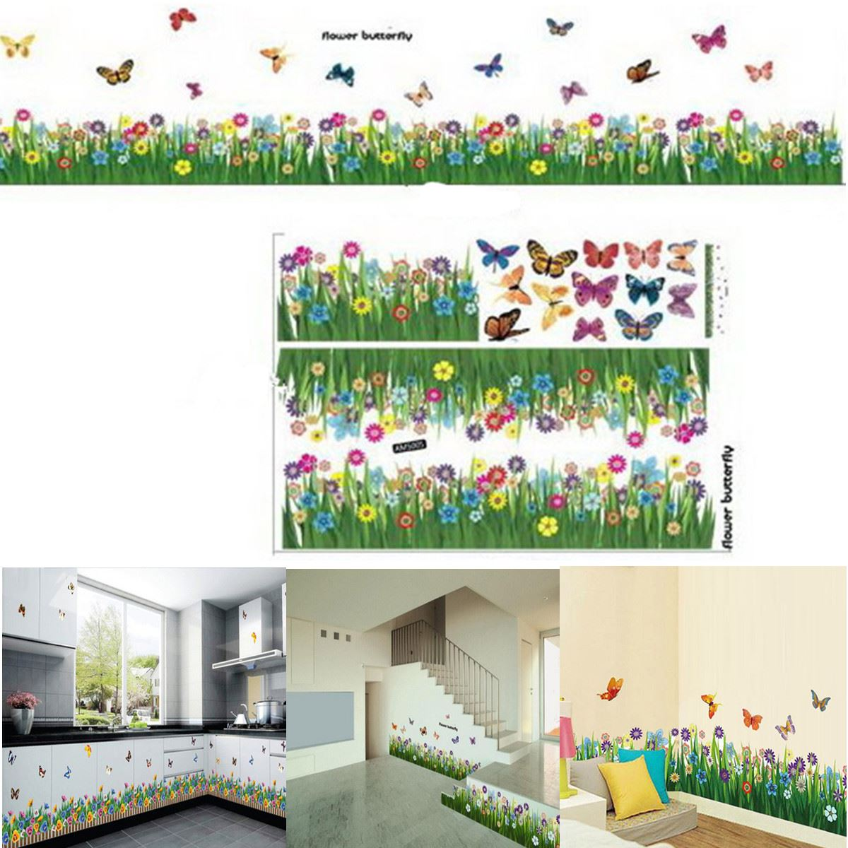 Best Price Romantic Design DIY Flower Butterfly Underbrush Window Kid Room Removable Wall Stickers Decal Home Decor Decoration(China (Mainland))