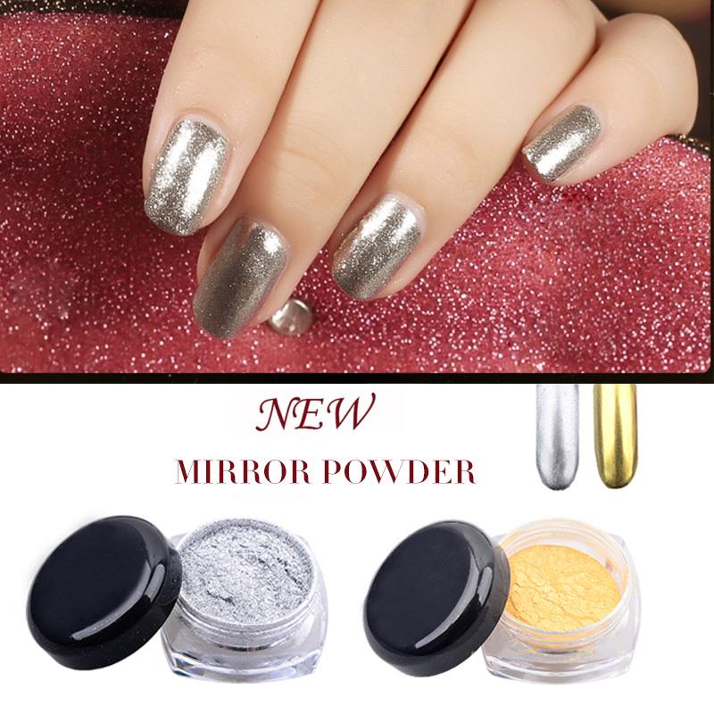 2g/box Gold Silver Chrome Mirror Powder Dust Pigment Magic Aluminum Nail Sequins Glitters DIY Nail Decoration Tools(China (Mainland))