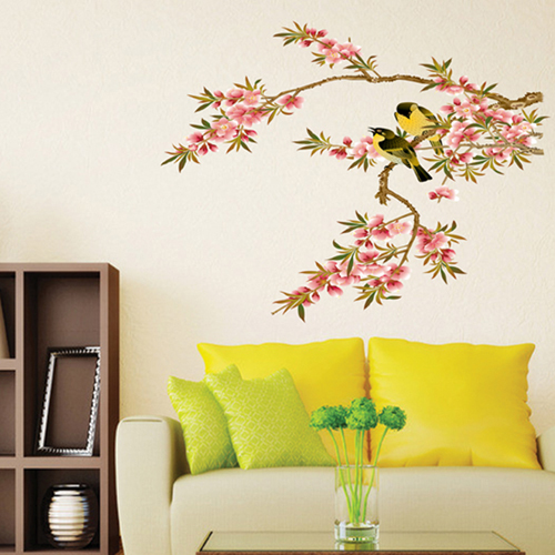 1 set 25*32 Inch Removable Vinyl Wall Decals Flowers Branch and Birds Art Wall Decor Wall Stickers For Home Decoration XY8008(China (Mainland))