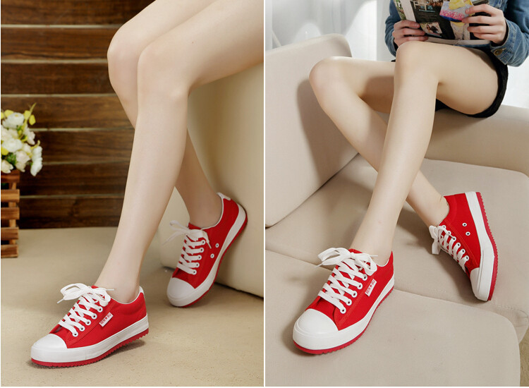 New 2016 Red Bottom Casual Shoes for Women Canvas Sponge Height Increasing Women Breathable Platform Women Shoes