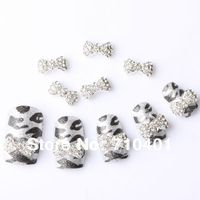 Hot Sale FREE SHIPPING Wholesale Xmas Silver Bowtie 50pcs 3D Alloy Rhinestones Nail Art  Slice DIY Decoration Gift Manicure Tool