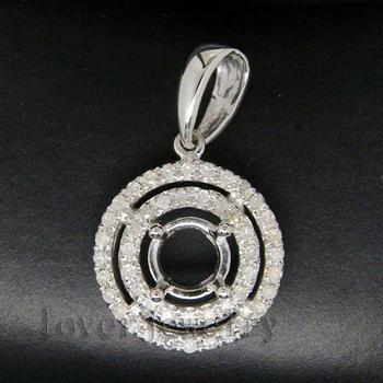 Round 5mm Solid 14Kt White Gold 0.28Ct Diamond Semi Mounting Setting Pendant