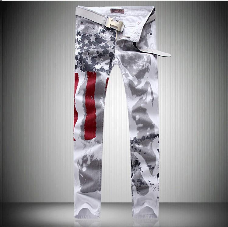 Скидки на Новые продукты высокого качества печати мужские джинсы брюки Эластичность Досуг джинсовые комбинезоны мужчин pantalones вакеро hombre G213