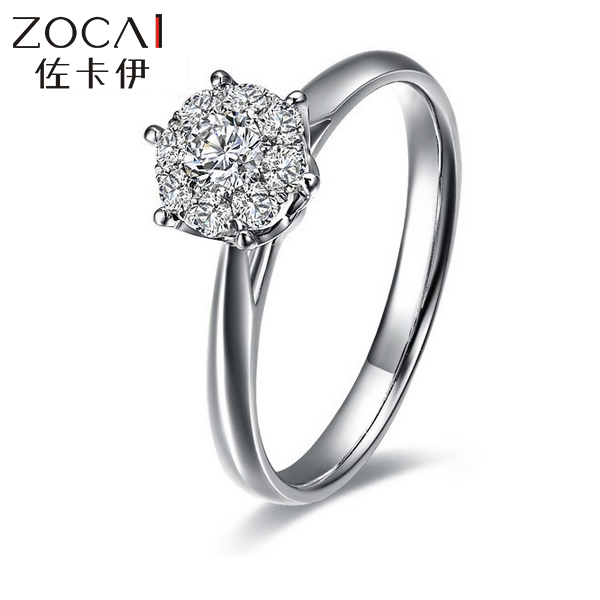 ZOCAI brand 1.5 Carat effect SUMMER STARRY SKY 0.34 CT CERTIFIED H / SI ROUND CUT 18K WHITE GOLD DIAMOND RING W00055