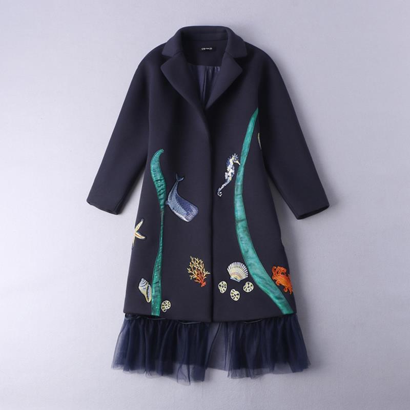 Desigual Coat New 2016 Autumn Winter Full Sleeve Turn-down Collar Fish Embroidery Loose Chiffon Spliced Women Dark Blue CoatОдежда и ак�е��уары<br><br><br>Aliexpress