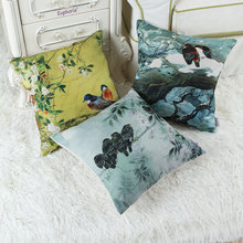 Oriental Chinese Ink Flower Bird Tree Cushion Cover Pillows