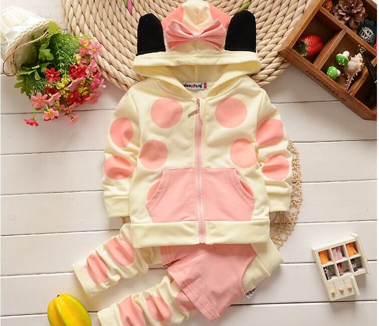 On Sale 2016 Spring new 1-4 years old baby girls clothing set Cotton with hooded Dot 2 piece suit setsA178(China (Mainland))