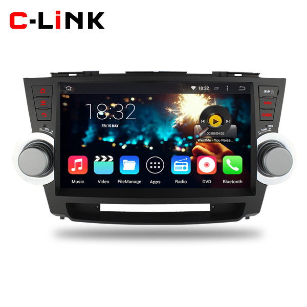 "Quad Core 1.6GHz 10.1"" 1024*600 Screen Android 4.4 Car PC Video Stereo Radio Player For Toyota Highlander 2011-2014 WIFI 3G TV(China (Mainland))"