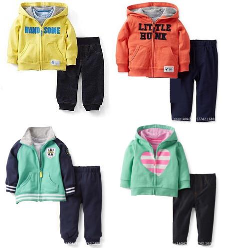 Retail Original Carter's Baby Girls Boys 2PCS/Pack Jacket With Cap Pants Baby Clothes Set Winter Autumn Outer Wear Coat+Pants(China (Mainland))