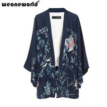 WEONEWORLD New 2016 Phoenix Irregular Kimono Shirt Printing Kimono Coat Jacket Batwing Sleeve Shirt Floral Shirt(China (Mainland))