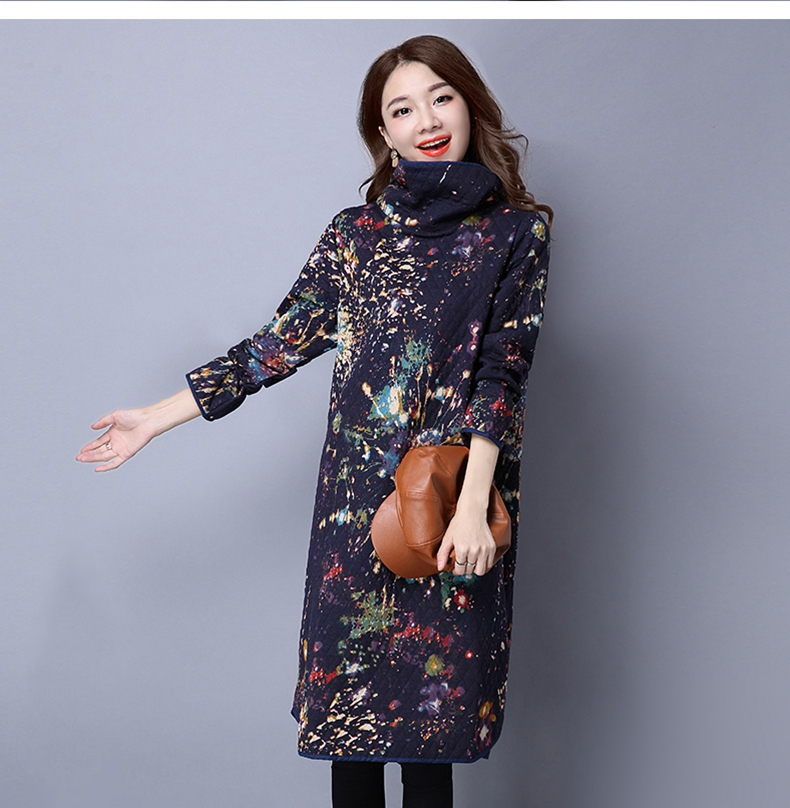 Winter Autumn Dresses Women 2016 Cotton Quilted Turtleneck Sleeve Head Long Lingge Printing Ink China Casual Dress