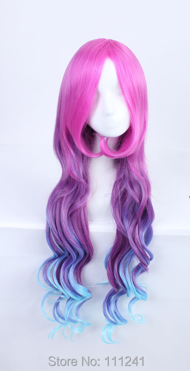 New Arrival LOL Miss Fortune Sexy Women Long Rose Red Purple Blue Gradient Wave Cospla Costume Wig,Party Wig<br><br>Aliexpress