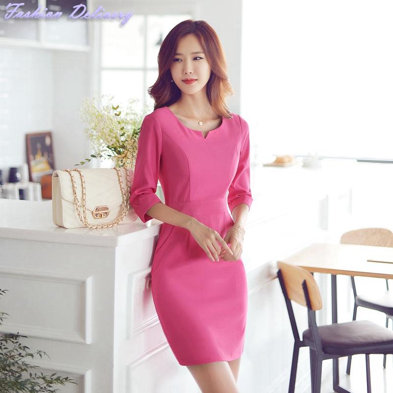 Hot Pink Women Work Dress Half Sleeve O-Neck Slim Formal Business Office Lady Dress Elegant Summer Pencil Mini Dress Plus Size(China (Mainland))