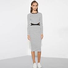 Striped Dress Women 2016 Spring Summer Hollow Out Dresses Long Sleeve Casual Bodycon Pencil Sport Dress Robe Longue Femme