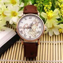 New Men Women Vintage Tree Pattern Leather Strap Watch World Map Surface Roma Number Copper Alloy Quartz Watch Analog Clock Hour