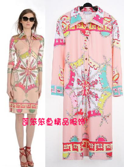 free shipping New Arrival epucci dress spring matte finish color Temperament Lapel jersey stretch knit printed dresses(China (Mainland))