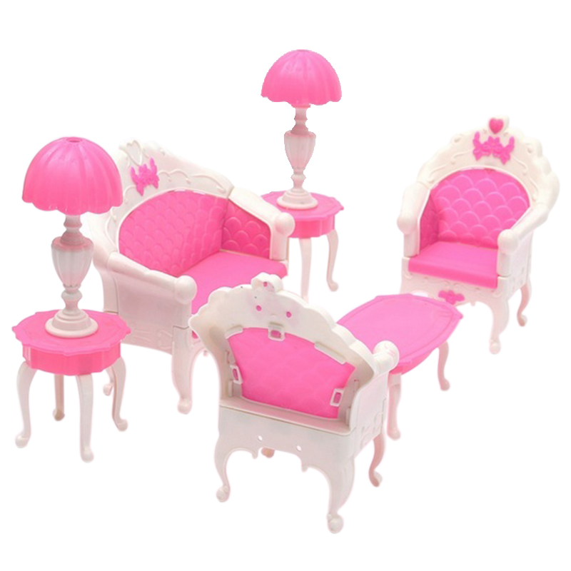 Comfortable 2016 Hot Sale 6pcs Cute Dollhouse for Barbie Doll Furniture Playset Living Room Parlour Sofa New(China (Mainland))