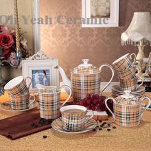 Porcelain coffee set bone china tea set 15 pieces European coffee pot coffee jug saucer set