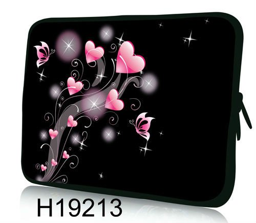 """Hot Pink Heart & Butterfly Design 13""""13.3"""" Computer Neoprene Case Laptop Sleeve For Acer Asus Dell,Free Shipping(China (Mainland))"""