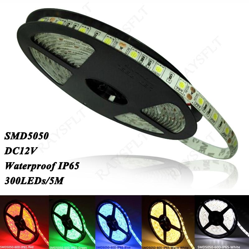 LED Lighting Strips 16.4ft SMD5050 300leds Fita tira de led luces White Bead Tape Roll DC12V Waterproof 5050 RGB LED Strip Light(China (Mainland))