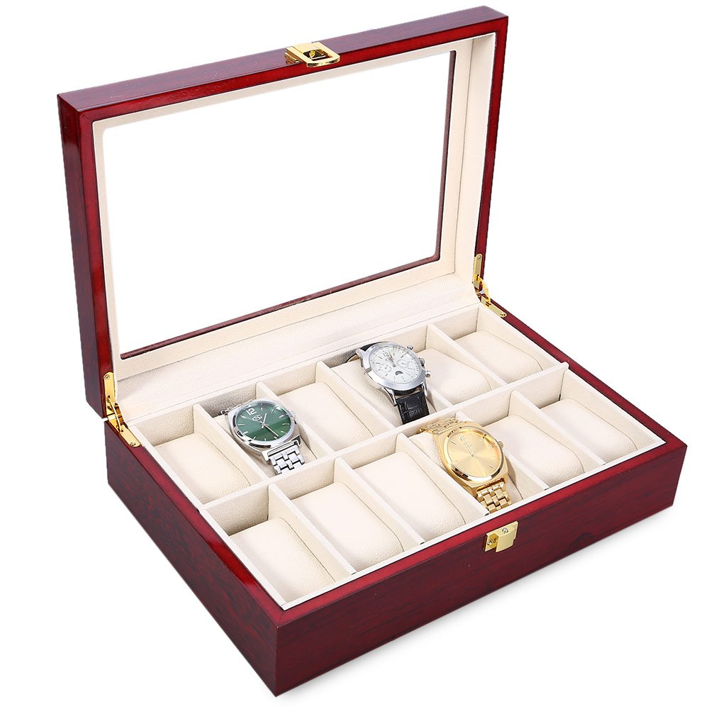 2016 Brand New Wood Watch Box 12 Slots Plush Pillow Watches cases High Quality Glass Top Organizer Display Watch Relogios Caixa(China (Mainland))