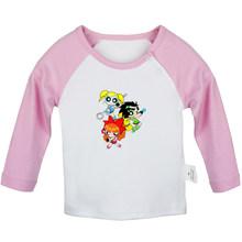 Pokemon pikachu eevee family Powerpuff Girls Little Mermaid Ariel ทารกแรกเกิดเสื้อยืดเด็กวัยหัดเดินกราฟิกเสื้อแขนยาว Tee Tops(China)