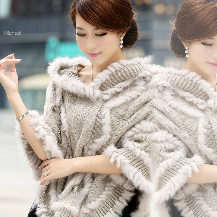 Hot Womens Girl Cashmere Shawl Wool Hooded Poncho Batwing Coat Winter Jacket Cloak Poncho 10(China (Mainland))
