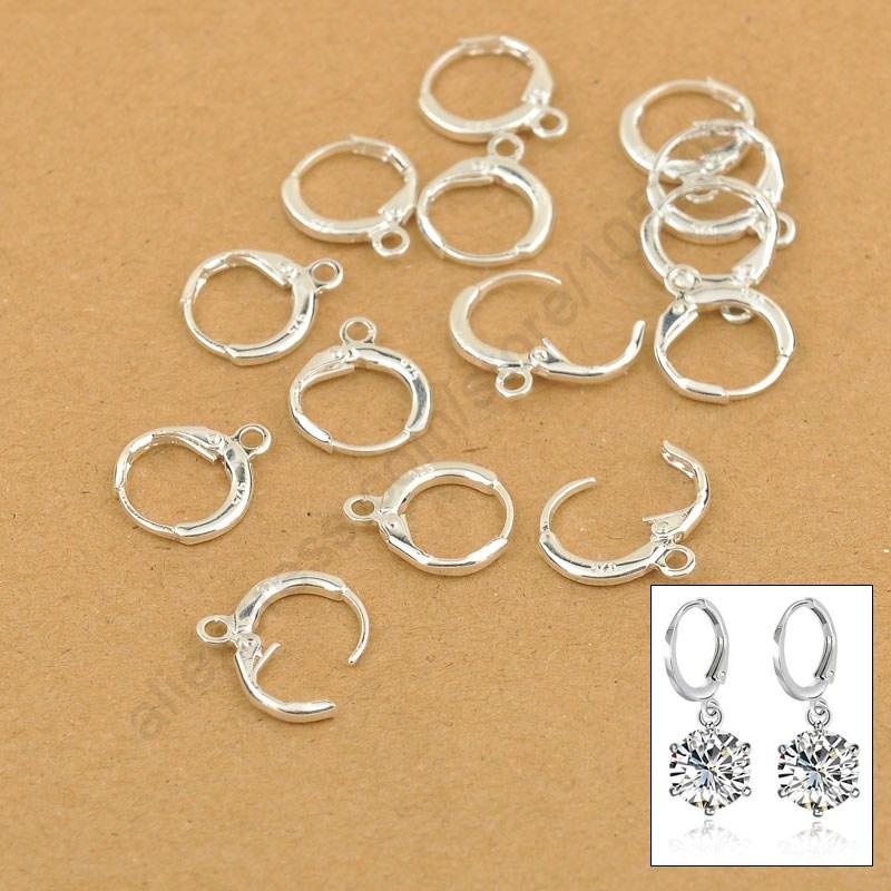 Hoop Drop Earrings Jewelry Findings 20PCS(10Pair) Real Pure 925 Sterling Silver Jewellery Leverback Ear Earwires 12MM<br><br>Aliexpress