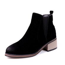 WETKISS Ahşap Yüksek Topuklu Ayak Bileği Kadın Çizmeler Yuvarlak Ayak Akın Ayakkabı Kalın Peluş Kadın Önyükleme Elastik Bant Ayakkabı Kadın 2018 kış(China)