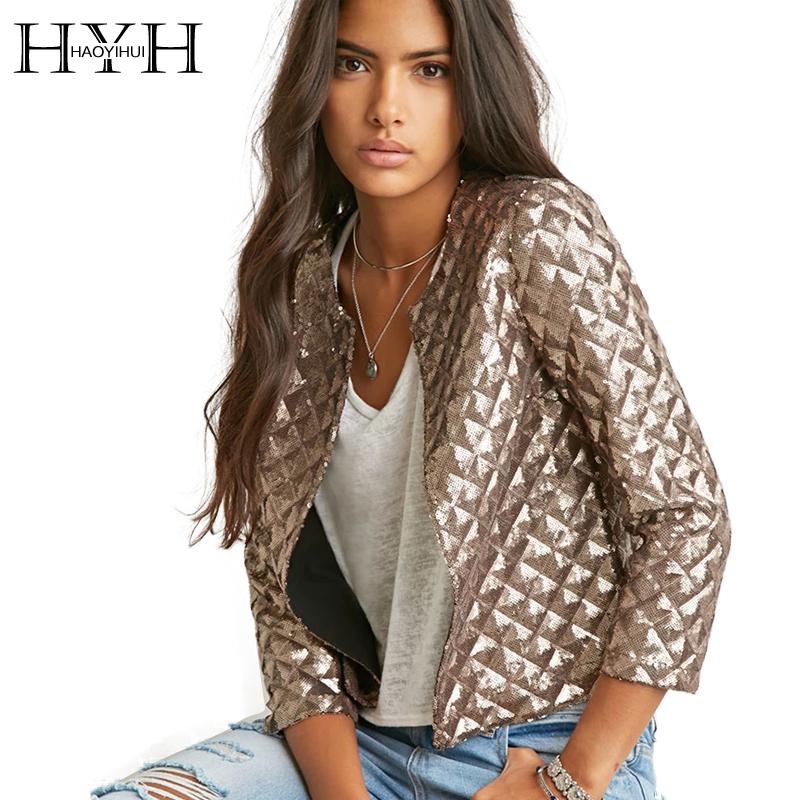 HYH HAOYIHUI 2016 Brand New Spring Style Vogue Lozenge Women Gold Sequins Jackets Three quater sleeve Fashion Coats Outwears