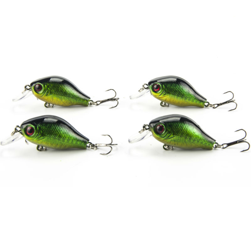 Fishing lure crankbait hard lures 4pcs lot wobblers for Glow in the dark fishing spinners