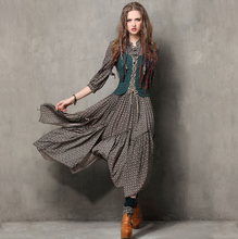 Summer Style Women Dress 2016 Yuzi.may Vintage Tunic Cotton Combo Dresses Mandarin Collar Three Quarter Sleeve Maxi Vestido 6526(China (Mainland))