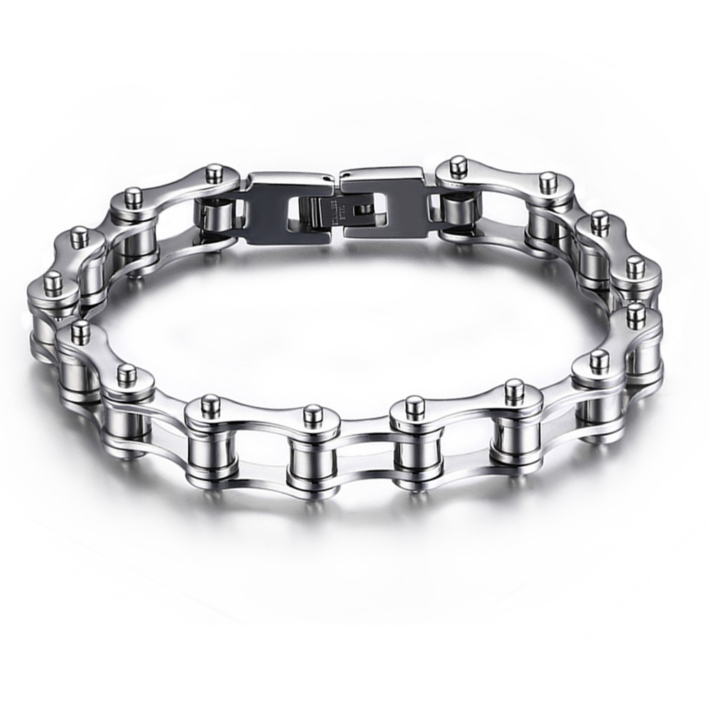 230mm*10mm New HOT Heavy Wide Stainless Steel Bracelet Cool Men Biker Bicycle Motorcycle Chain Men's Bracelets & Bangles(China (Mainland))