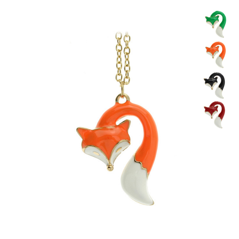 """2015 New Hot Fashion Jewelry Green/Black/Red/Orange Oil Glaze 18""""+2"""" Necklace Loverly Fox Pendant EZM 2016 Free drop Shipping(China (Mainland))"""