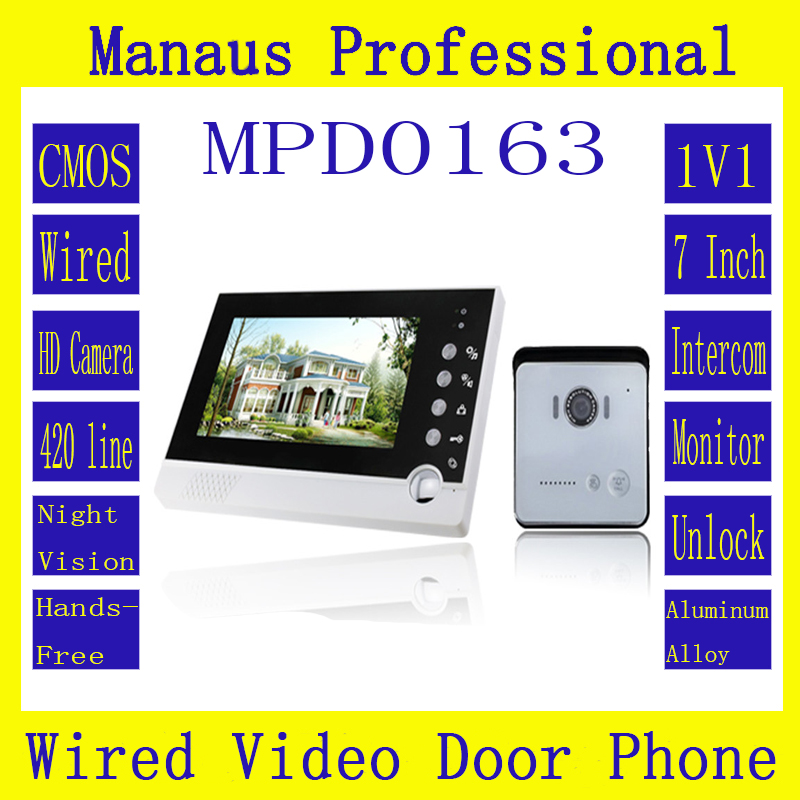 "Home 7"" LCD Screen Display Video Doorbell ,Professional Handfree intercom One to One Video Door Phone Kit Configuration D163a(China (Mainland))"