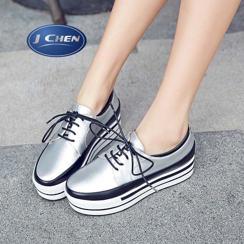 Free shipping 2016 spring/autumn silver loafers lace up waterproof woman shoes round toe flats woman shoes