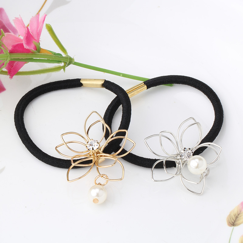 Fasion Lady Girl Pearl Wire Flower Ponytail Holder Scrunchy Hair Rope Elastic Rubber Band Womens Headwear Diamond Hair Accessory(China (Mainland))