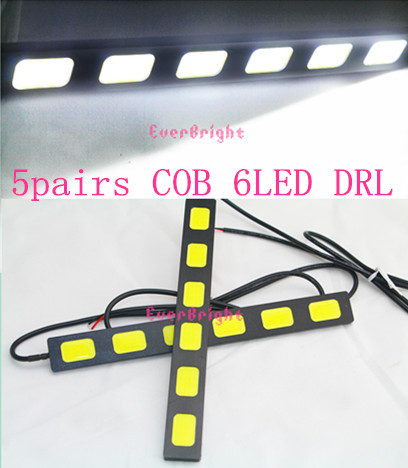 NEW!! 10pcs(5Pairs) DRL COB 6 SMD 6LED IP67 Waterproof  Ultra-thin Eagle Eye Daytime Running Light  White<br><br>Aliexpress