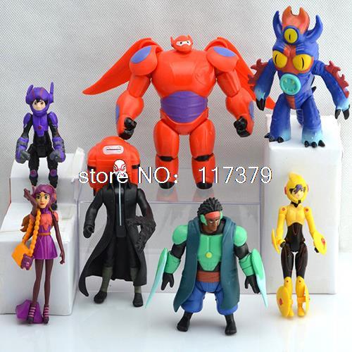 7pcs/set 15cm Big Hero 6 figures Baymax Fred Tomago Honey lemon Wasabi Cartoon Model Action Figure Toys(China (Mainland))