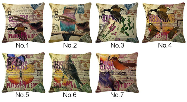 Vintage Cushion Covers For Sofa Shabby Chic Home Decor Bird Print Cotton Linen Decorative Throw Pillow