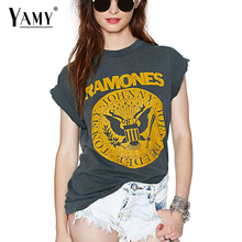 Buy Summer 2017 punk rock T shirt Women Tops Tees Short sleeve o neck grey summer T-shirt RAMONES printed Top Plus size for $11.66 in AliExpress store