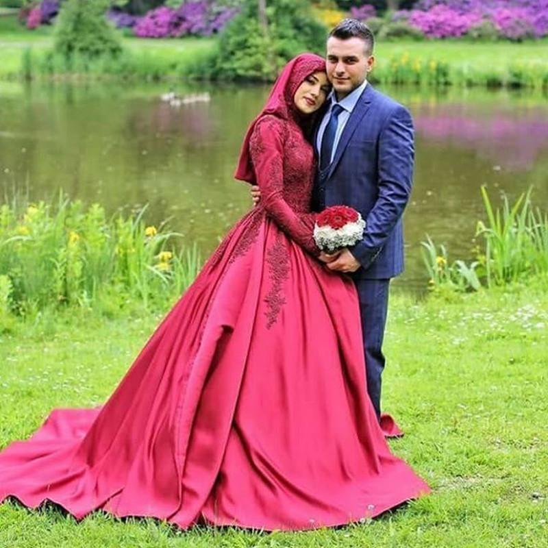 Vestido Novia 2016 Long Sleeve Muslim Wedding Dress Hijab Wedding Dress Satin Arabic Red Ball Gown Wedding Dresses Robe Mariage(China (Mainland))