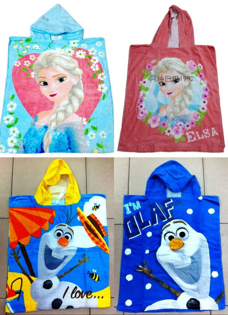 120*50cm Cartoon cape Towels baby bath towel Children Beach Towel Elsa & Anna Princess snowman olaf cloak towels -FREE SHIPPING(China (Mainland))
