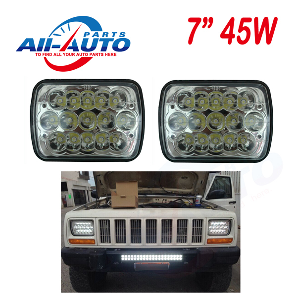 "New Tech 7"" x 6"" 45W LED sealed beams 7"" LED auxiliary driving light high low beams in one APW-745W(China (Mainland))"