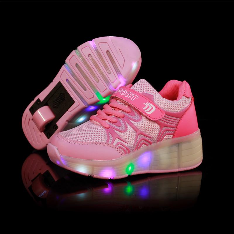 2016 Child Wheely's Jazzy LED Light Heelys Roller Skate Shoes Children Kids Junior Girls Boys Sneakers Wheels - romantic mill store