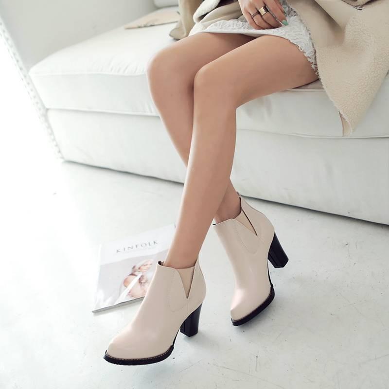 ซื้อ พลัสSize34-43 2016ใหม่เซ็กซี่ผู้หญิงฤดูใบไม้ร่วงขี่บู๊ทส้นสูงหนาปั๊มสั้นฤดูหนาวข้อเท้าของผู้หญิงรองเท้าหิมะSBT1701