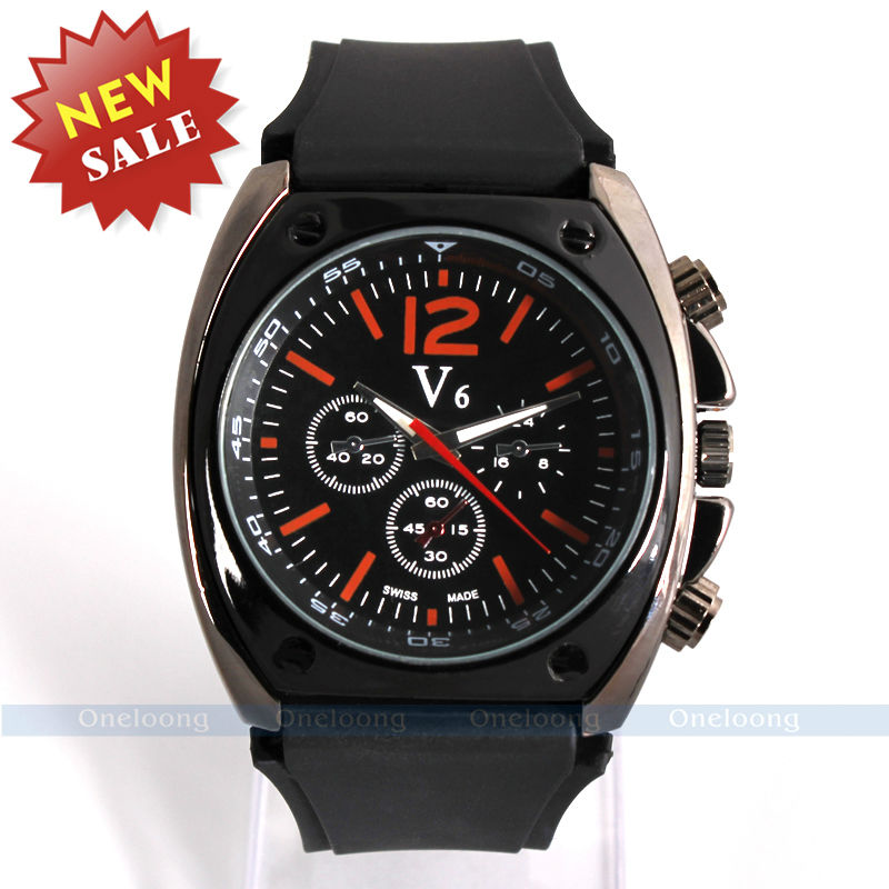 V6 Brand Japan Quartz Movement Wristwatch Rubber Strap Analog Display Men Sports Watches Military Army Watch - Cass store