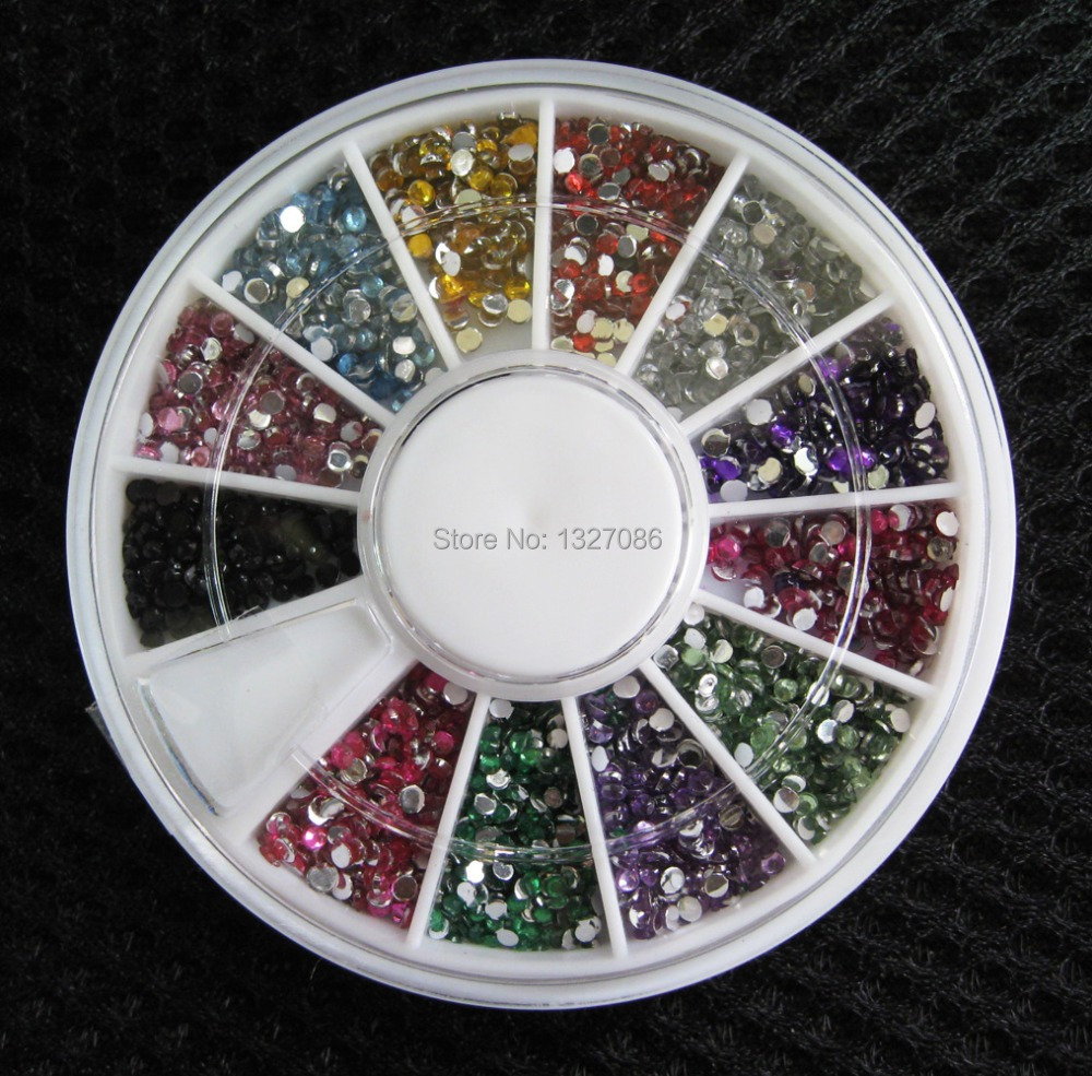 2015 High Quality 2000 1.5mm Assorted Colors Round Glitter Nail Art Decorations Wheel Rhinestones(China (Mainland))
