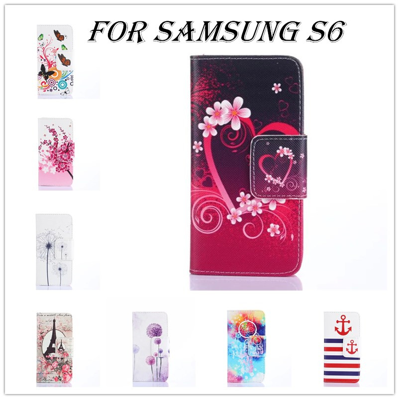 new case for S6 high quality Flower Original Case Luxury PU Leather Cover For Samsung Galaxy S6 G9200 tpu case card slot(China (Mainland))