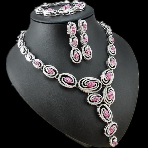 EEL Luxury Crystal Wedding Jewelry Sets Women 18k Platinum Plated Rose Red Zircon  -  fashion jewelry store store